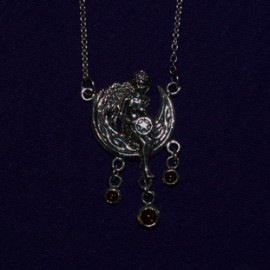 Moon Fairy and Pentacle Necklace with Red Rems
