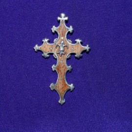 Gothic cross pendant with wood inlay