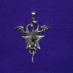 Dragons entwined round pentagram with black stone