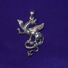 Fierce Dragon silver pendant