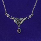 Celtic silver necklace with amethyst