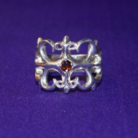 Gothic style silver ring with garnet
