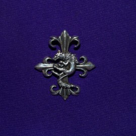 Cross Fleur de lys with Fox Silver Pendant