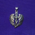 Headless Angel On Cross Silver Pendant