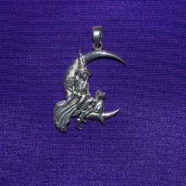 Pink Moon Witch Silver Pendant