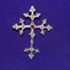 Religious Cross With Garnat Stone Silver Pendant