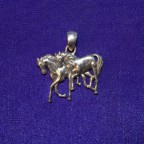 Two Horses Silver Pendant