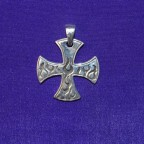 Maulties Cross With Flames Silver Pendant