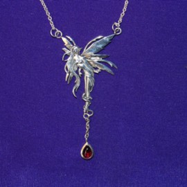 Firefly Fairy Dangle Silver Necklace