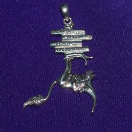 Elf Holding Books (Book Worm) Silver Pendant