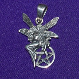Small Fairy With Pentacle Silver Pendant
