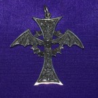 Bat Cross Silver Pendant