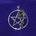 Pentagran Dragon Silver Thong Necklace