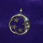 Moon Stars Blue Stone Silver Thong Necklace