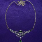 Celtic Green Gemstone Design Silver Necklace