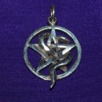 Pentagram With Snake Silver Pendant