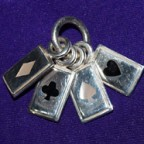 4 Cards Silver Pendant