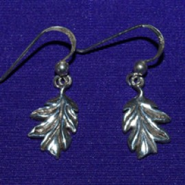 Oak Leaf Dangles Silver Earrings