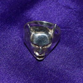 Bat Head Silver Ring