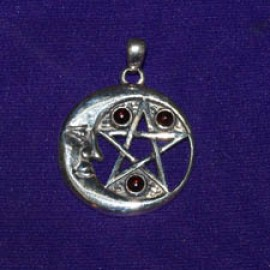 Cres Moon Face, Star, 3 Gems Silver Pendant