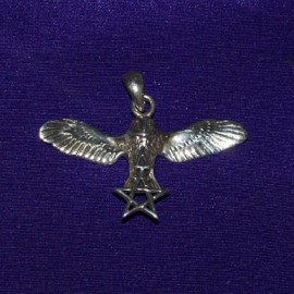 Flying Owl With Pentacle And Triangle Silver Pendant