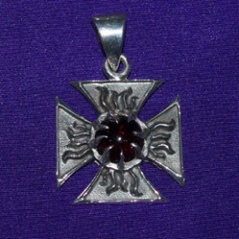 Gothic Iron Cross With Garnat Stone Silver Pendant