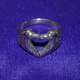 Kissing Horses Silver Ring