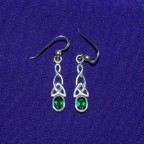 Celtic Green Stone Dangle Silver Earrings