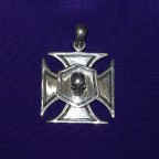 Iron Cross With Skull Silver Pendant