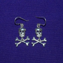 Skull And Bones Silver Earrings