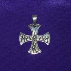 Iron Cross Flames Silver Pendant