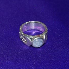 Triple Moon With Gem Silver Ring