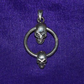 Skulls On Ring Silver Pendant