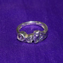 Celtic Cat With Gem Silver Ring