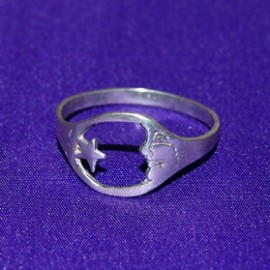 Moon/Star Silver Ring