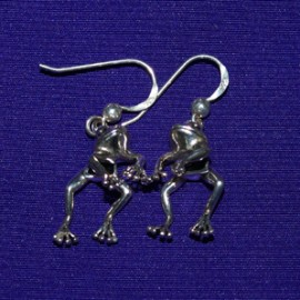 Frog Dangle Silver Earrings