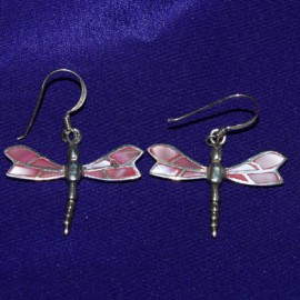 Pink Dragonfly Silver Earrings
