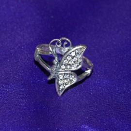 Sparkle Wing Butterfly Silver Ring