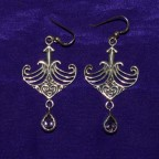 Celtic Maori Amethyst Silver Earrings