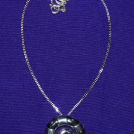 Spirals With Black Rhodo Silver Necklace
